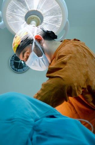 Dr. Salamea in the operating room.