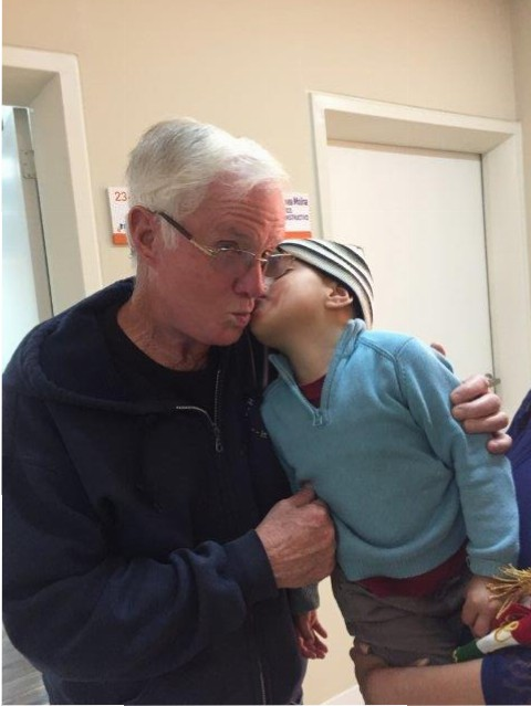 Tod Freeman with a grateful young patient.